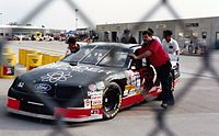 The car of Brad Teague in the garage area during practice.