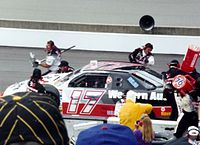 Darrell Waltrip during a pit stop.