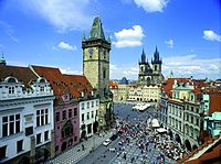 Old Town Square featuring Church of Our Lady before Týn and Old Town City Hall with Prague Orloj