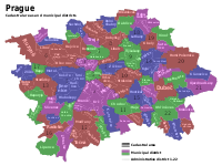 Map of Prague cadastral and administrative districts