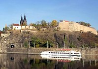 Vyšehrad fortress contains Basilica of St Peter and St Paul, the Vyšehrad Cemetery and the oldest Rotunda of St. Martin