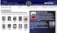 Website of the Federal Bureau of Investigation listing bin Laden as deceased on the Most Wanted List on May 3, 2011
