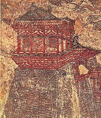 Que 闕 towers along the walls of Tang-era Chang'an, as depicted in this 8th-century mural from Prince Li Chongrun's tomb at the Qianling Mausoleum in Shaanxi