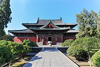 Hall of Moni (摩尼殿) in the Temple of Longxing (隆兴寺). It was built in 1052 in Song dynasty (宋朝).