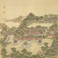 """The Wonderland of Fanghu in the Old Summer Palace.It was destroyed by the Anglo-French Allied Forces in 1860.(Fanghu is one of the wonderlands on the sea in Chinese myths.It is the same as Fangzhang.""""方壶"""",同""""方丈"""",是中国传说中海上三仙山之一. )"""