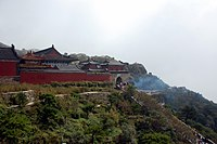 A group of temples at the top of Mount Taishan, where structures have been built at the site since the 3rd century BC during the Han dynasty