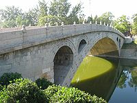The Zhaozhou Bridge, built from 595–605 during the Sui dynasty. It is the oldest fully stone open-spandrel segmental arch bridge in the world.