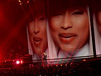 """Minaj's visuals (pictured) on The MDNA Tour during a performance of """"I Don't Give A"""" in 2012."""