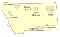 Indian reservations in Montana. Borders are not exact.
