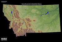 Relief map of Montana