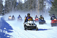Guided snowmobile tours in Yellowstone Park