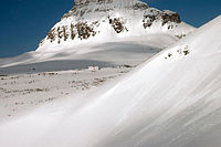 The Big Drift covering the Going-to-the-Sun Road in Glacier National Park, as photographed on March 23, 2006