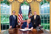 President Trump signing the Hong Kong Autonomy Act, together with Executive Order 13936, July 14, 2020