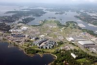 Aerial view of Fornebu with Telenor Arena to the right