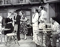 """Guest starring as """"Susie McNamara"""" on The Lucy-Desi Comedy Hour, """"Lucy Takes a Cruise to Havana"""", L-R: Ann Sothern, Rudy Vallee, Lucille Ball, Desi Arnaz, Cesar Romero, Vivian Vance and William Frawley (1957)"""
