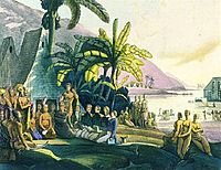 King Kamehameha receiving the Russian naval expedition of Otto von Kotzebue. Drawing by Louis Choris in 1816.