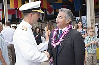 Governor David Ige with U.S. Navy admiral John Richardson at the 75th Commemoration Event of the attacks on Pearl Harbor and Oahu, 2016