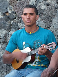 The Portuguese cavaquinho, a four-stringed instrument from which the ukulele is descended