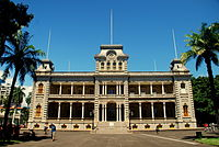 The Iolani Palace in Honolulu, formerly the residence of the Hawaiian monarch, was the capitol of the Republic of Hawaii.