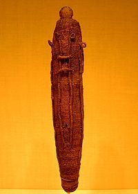 A sacred god figure wrapping for the war god 'Oro, made of woven dried coconut fibre (sennit), which would have protected a Polynesian god effigy (to'o), made of wood
