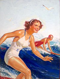 From the end of World War II onwards, depictions and photographs, such as this, of Hawaii as a tropical, leisure paradise encouraged the growth of tourism in Hawaii, which eventually became the largest industry of the islands.