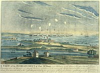 Bombardment of Fort McHenry by the British. Engraved by John Bower