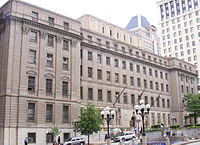 Courthouse east is a historic combined post office and Federal courthouse located in Battle Monument Square.