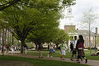 Keyser Quadrangle in Spring at the Johns Hopkins University the first research university in the United States.