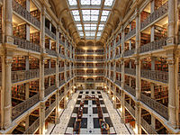 Interior of the George Peabody Library at the Peabody Institute of Johns Hopkins University. It is considered one of the most beautiful libraries in the world.