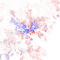 Map of racial distribution in Baltimore, 2010 U.S. Census. Each dot is 25 people: White, Black, Asian Hispanic , or Other (yellow)