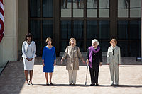 Rosalynn Carter with former First Ladies Barbara Bush, Hillary Clinton and Laura Bush and Michelle Obama during the dedication of the George W. Bush Presidential Library and Museum on the campus of Southern Methodist University in Dallas, Texas, on April 25, 2013