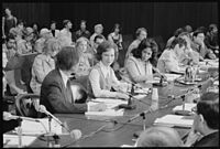 Rosalynn Carter chairs a meeting in Chicago, Illinois, for the President's Commission on Mental Health on April 20, 1977.