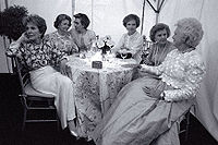 Carter joins First Ladies (left to right) Nancy Reagan, Lady Bird Johnson, Hillary Clinton, Carter, Betty Ford, and Barbara Bush at the National Garden Gala: A Tribute to America's First Ladies in 1994