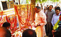 Brijesh Pathak, Minister of Law & Justice and Additional Energy Resources in Uttar Pradesh, inaugurating the bada mangal festivities at UPNEDA office in Vibhuti Khand (May 2017)
