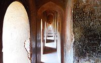 Bada Imambada is famous for its maze called 'Bhool Bhulaiyaa' in Hindi. It is built of identical 2.5 feet wide passageways like the one shown in this photograph.