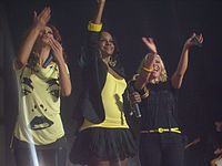 Third Sugababes line-up in April 2008 on the Change Tour, their largest-scale tour to date