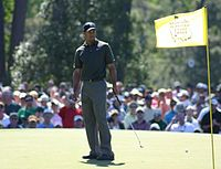 Tiger Woods, five-time Masters Champion in 1997, 2001, 2002, 2005, and 2019. Tiger is one of three golfers to successfully defend his title