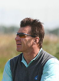Nick Faldo, three-time Masters Champion in 1989, 1990, and 1996, and is one of three golfers to successfully defend his title