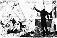 1833 Democratic cartoon shows Jackson destroying the devil's Bank