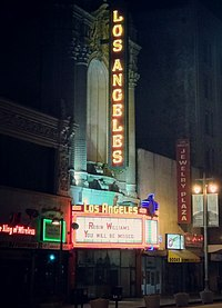 The Los Angeles Theatre honors Williams on their marquee.