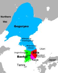 The Three Kingdoms of Korea, at the end of the 5th century