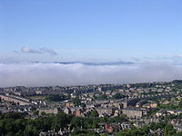 Haar (fog) travelling up the River Tay by advection