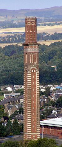 Cox's Stack, a chimney from the former Camperdown Works jute mill. The chimney takes its name from jute baron James Cox who later became Provost of the city