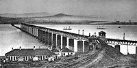 The original Tay Bridge (from the south) the day after the disaster. The collapsed section can be seen near the northern end