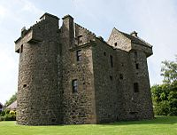 Claypotts Castle, dating from the late 16th century