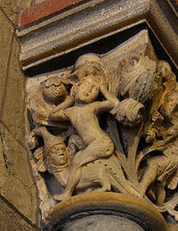 Eve rides astride the Serpent on a capital in Laach Abbey church, 13th century