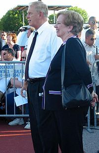 Strickland and Mary Jo Kilroy at an Obama–Biden rally in August 2008