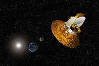 Artist's depiction of the WMAP satellite gathering data to help scientists understand the Big Bang