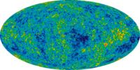 9 year WMAP image of the cosmic microwave background radiation (2012). The radiation is isotropic to roughly one part in 100,000.