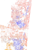 Map of racial distribution in Fort Lauderdale, 2010 U.S. Census. Each dot is 25 people: White, Black, Asian , Hispanic or Other (yellow)